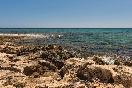 rocky shore of the Mediterranean Sea Stock Photo