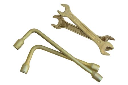 galvanized: Group of tools spanner and socket wrench Stock Photo