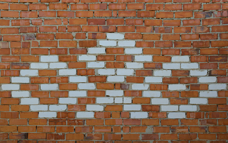 old red brick wall with white bricks ornament Stock Photo