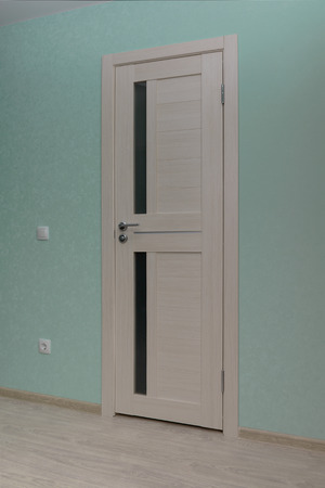 interior of a modern room with turquoise wallpaper and a light door with glass