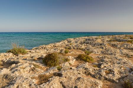 rocky shore of the Mediterranean Sea on the island of Cyprus at sunset 版權商用圖片