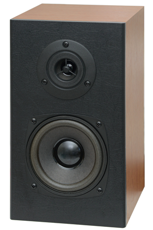 music speakers with two speakers on a white background