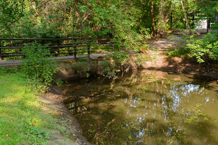 Old pedestrian bridge over a pond in the forest on a summer afternoon