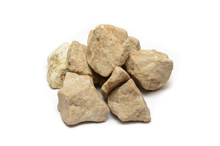 pile of several light stones on white background