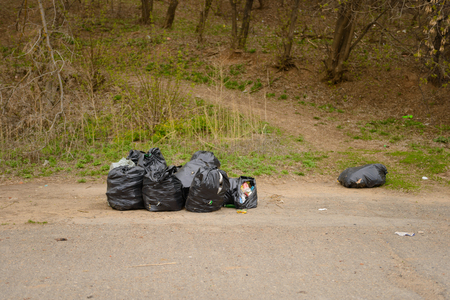 black bags of garbage are on the asphalt in front of the forest