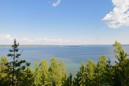 panoramic view of a wide river from above the forest Zdjęcie Seryjne