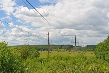 power lines through vast fields and forests on a sunny summer day