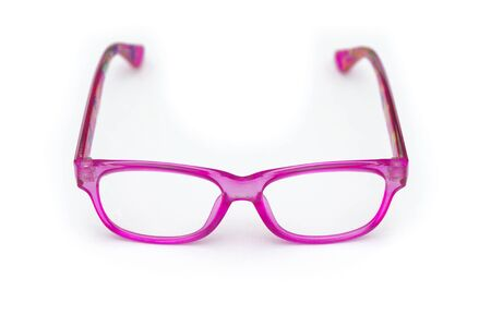 Glasses with childrens pink rim on a white background