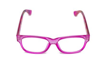 Glasses with children's pink rim on a white background