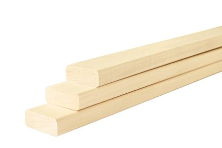 Neat linden boards for shelves on a white background Zdjęcie Seryjne