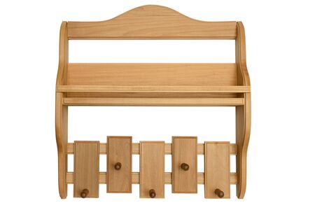 Wooden shelf with linden hangers on a white background