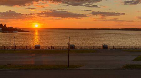 Embankment of the Volga River in the city of Cheboksary. Summer evening.