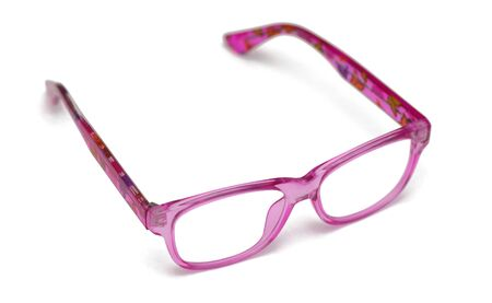 Pink eyeglasses for children on a white background