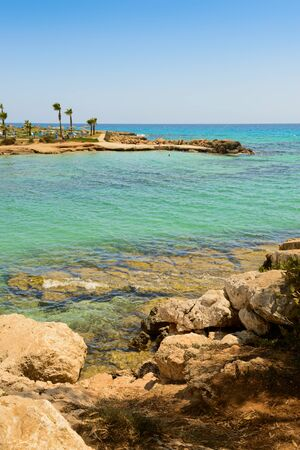 Mediterranean coast with a rocky coast and turquoise sea