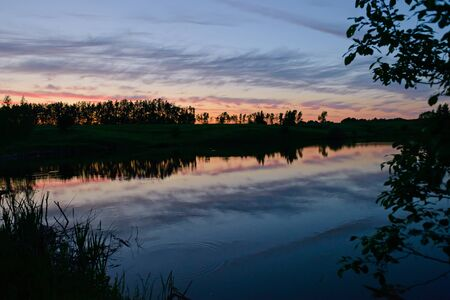 Evening summer landscape with a small pond