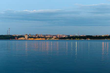 June 23, 2019: View of the city of Cheboksary from the opposite bank of the Volga River. Cheboksary. Russia.