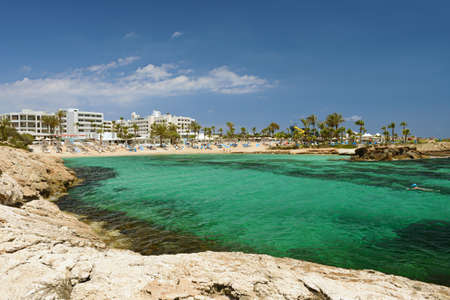 May 2, 2014: View of the Mediterranean beach in Cyprus. Ayia Napa. Cyprus.