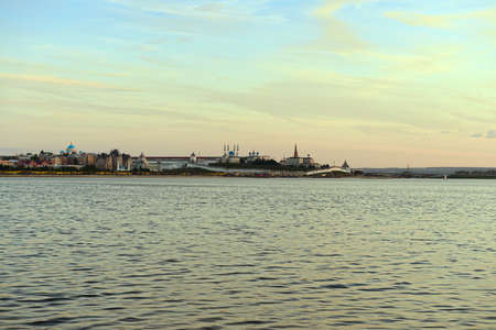 June 2, 2019: View of the city of Kazan with the Kremlin from the opposite bank. Kazan. Russia.