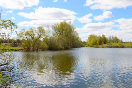 Spring sunny landscape with a lake and a reflection of the blue sky and young trees