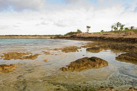 Rocky seashore on an early summer morning 版權商用圖片