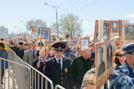 May 9, 2018: The Immortal Regiment Parade. In honor of those who died in the Great Patriotic War of 1941-1945. Cheboksary. Russia.
