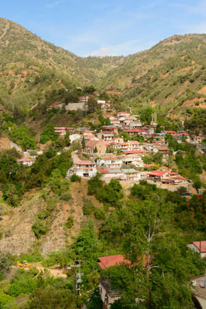 April 29, 2014: Rural settlement on a mountainside with forest. Troodos. Cyprus.