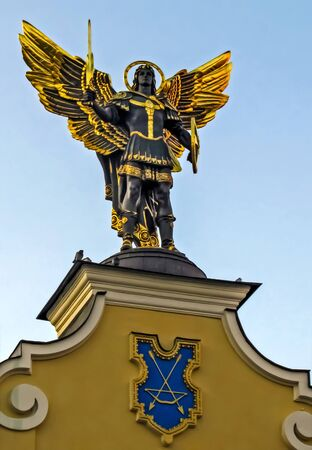 KIEV, UKRAINE: Gilded bronze, statue of the Archangel Michael, the Holy Patron of Kiev on Independence Square.