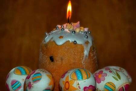 Holy fire over the traditional Orthodox Easter cake.