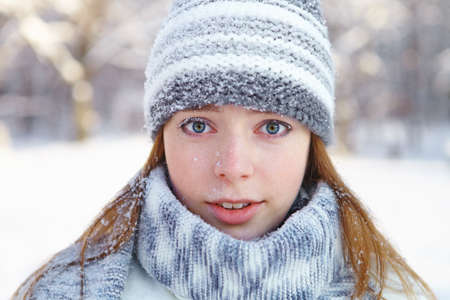 naivety: Young beautiful woman  Winter portrait