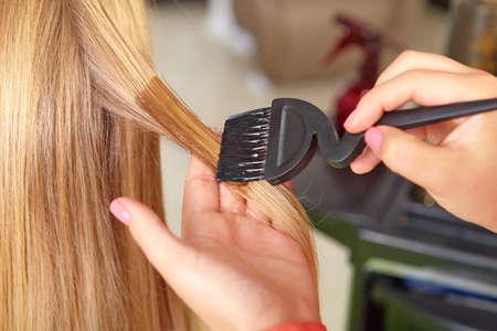 hair salon: Hair salon  Application of cosmetics  Stock Photo