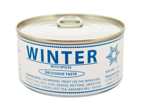 Concept of seasons  Winter  Tin can