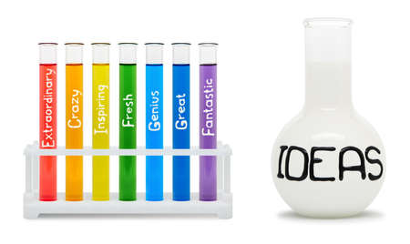 creativity: Concept of creativity with colored flasks  Clipping path included
