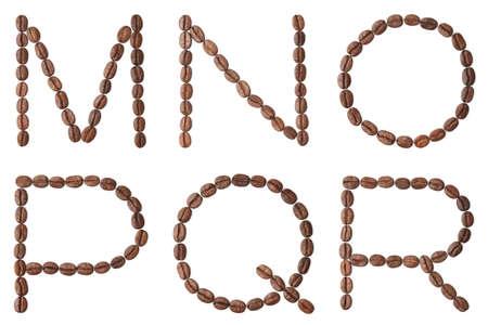 r p m:  Coffee  alphabet  Capital letters M, N, O, P, Q, R