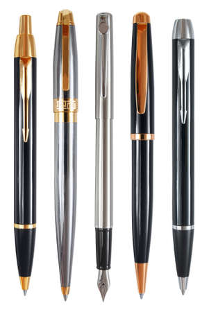 Set of prestigious pens captured from the side of pocket clips  Clipping paths included