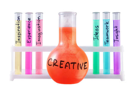 Abstract chemical formula of creativity on white background. photo