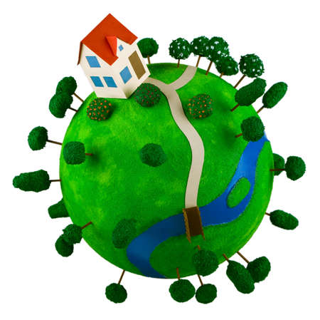 planetoid: Little green planet with toy house.
