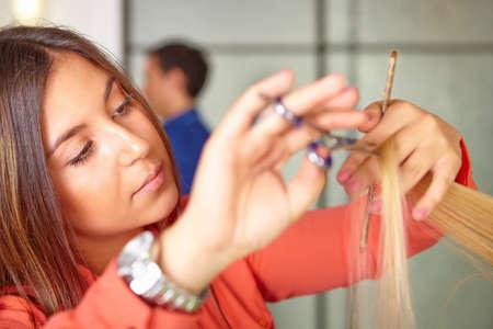 Hair salon  Women s haircut  Cutting  photo