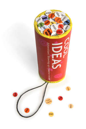petard: Conceptual firework unit with ideas confetti