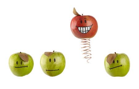 the chosen one: The Chosen One concept with painted apples.  Stock Photo