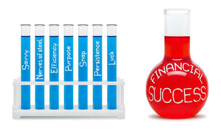 Formula of financial success. Concept with blue and red flasks.
