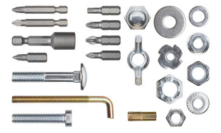 fasteners: Set of fasteners.