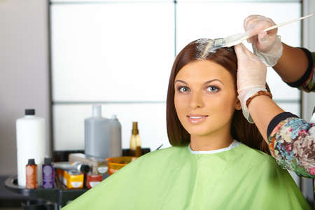 hair brush: Hair salon. Application of cosmetics.