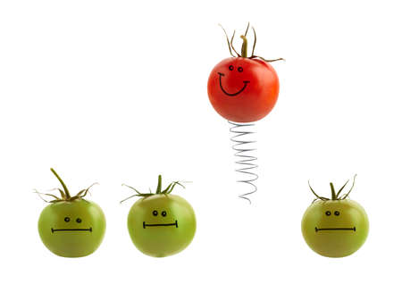 chosen one: The best concept with painted tomatoes.  Stock Photo