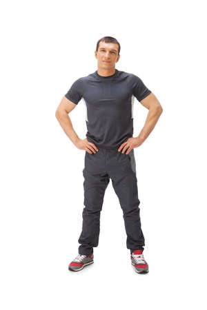 tracksuit: Portrait of sportsman isolated on white.