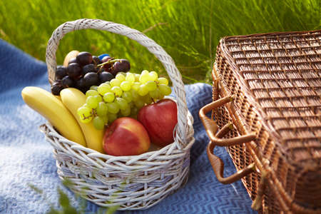 Picnic in the garden. Basket with fruits. photo