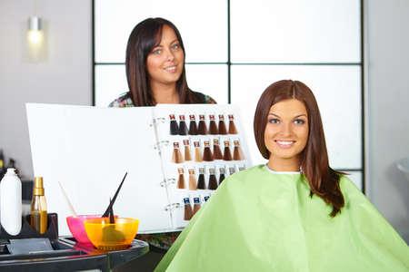 color hair: Hair salon. Choice of color. Stock Photo
