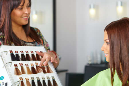 hair salon: Hair salon. Choice of color. Stock Photo