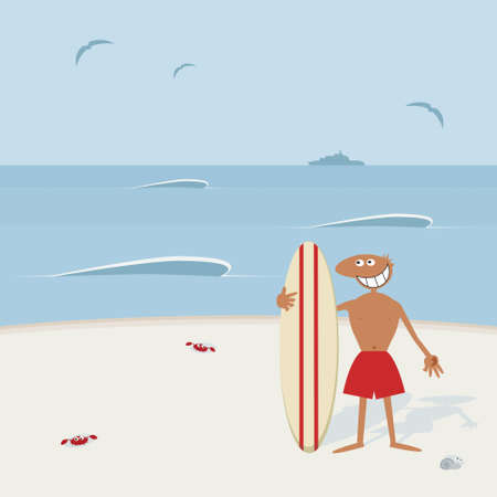beginner: Surfer with surfboard. Illustration