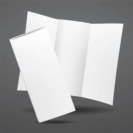 Blank white trifold brochure template. Vector