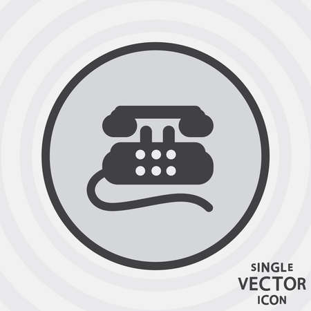 old telephone: Single monochrome flat icon Old telephone. Illustration